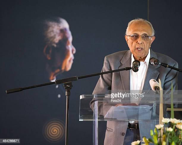 Former Rivonia trailist Ahmed Kathrada speaks at a church service in honour of former President Nelson Mandela on December 8 2013 held at the Mandela...