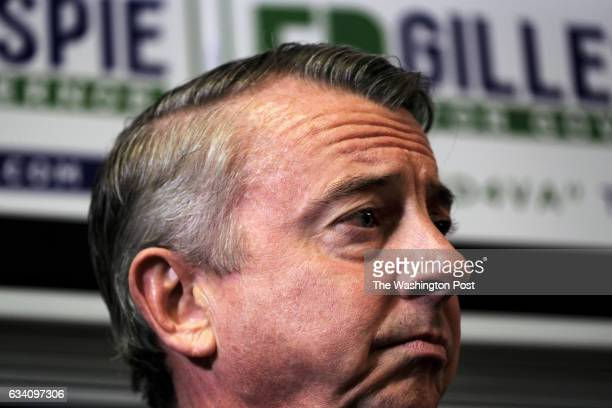 Former RNC chair and White House counselor Ed Gillespie listens as former Virginia governor George Allen introduces him as they kick off Gillespie's...
