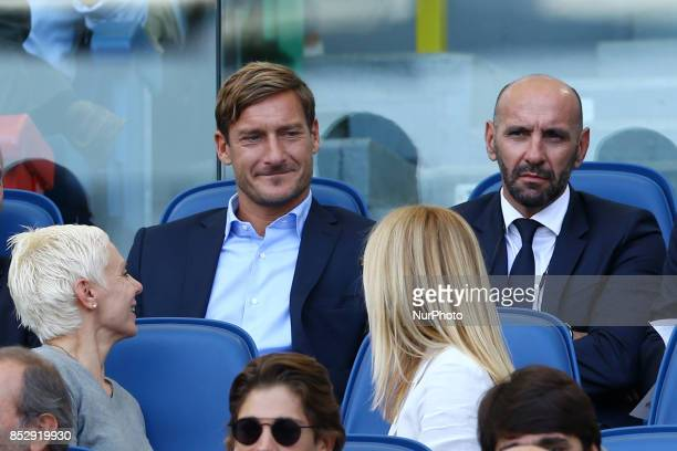 Former Roma player and actually in the Club staff Francesco Totti with AS Roma Sport Director Ramon Rodriguez Verdejo commonly known as Monchi during...