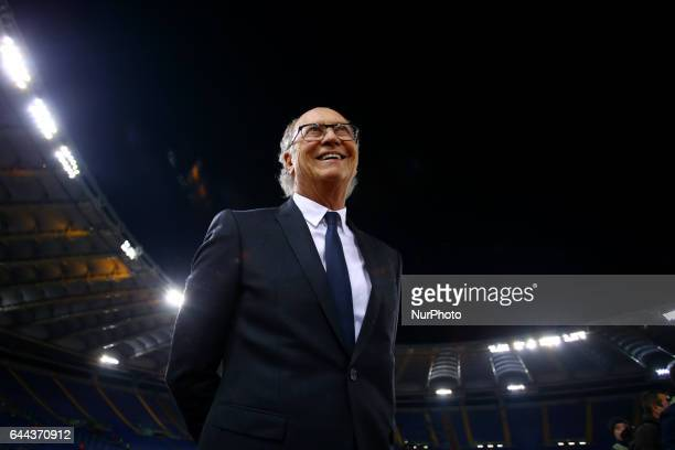 Former Roma player Paulo Roberto Falcao on the pitch before the match at Olimpico Stadium in Rome Italy on February 23 2017