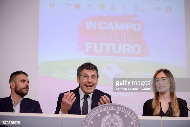 Former Roma player Simone Perrotta Television presenter Fabrizio Frizzi and the Under Secretary of State and Minister for Equal Opportunities Maria...