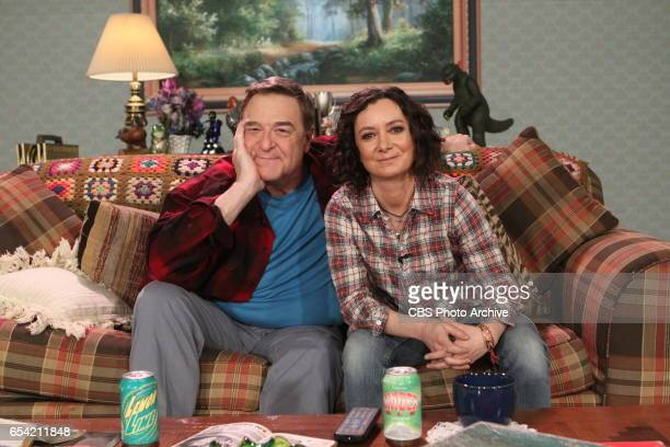 Former 'Roseanne' costars John Goodman and Sara Gilbert spoof their hit comedy series on 'The Talk' Friday March 10 2017 on the CBS Television Network