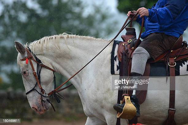 Former Royal Marine Vince Manley rides an American Quarter Horse during a course at HorseBack UK on June 28 2012 in Aboyne Scotland Set up by Jock...