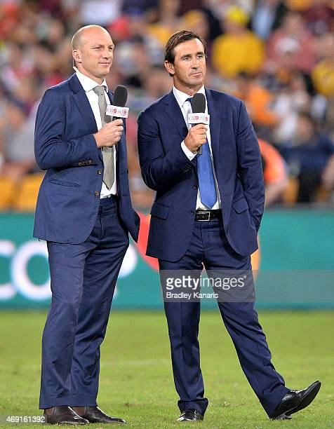 Former Rugby League greats Darren Lockyer and Andrew Johns are seen working for the channel nine commentary team before the round six NRL match...