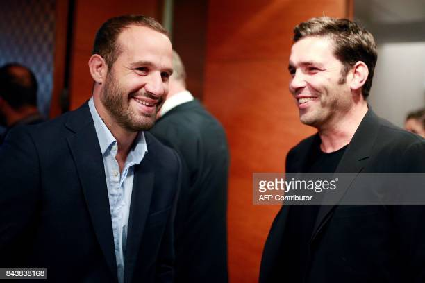 Former rugby player Dimitri Yachvili and French rugby player Frederic Michalak attend a press conference promoting France's candidacy for the 2023...
