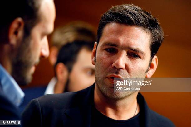 Former rugby player Dimitri Yachvili attends a press conference promoting France's candidacy for the 2023 Rugby World Cup on September 7 in Paris /...