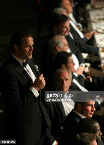 Former Rugby player Martin Bayfield speaks at the PFA Player of the Year Awards 2009 at the Grosvenor House Hotel London