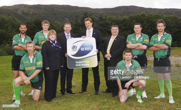 Former rugby star Andy Nichol MSP Danny Alexander Colin Thomson Head of Community Rugby RBS Aviemore Branch manager Elspeth Mackay with Strathspey...