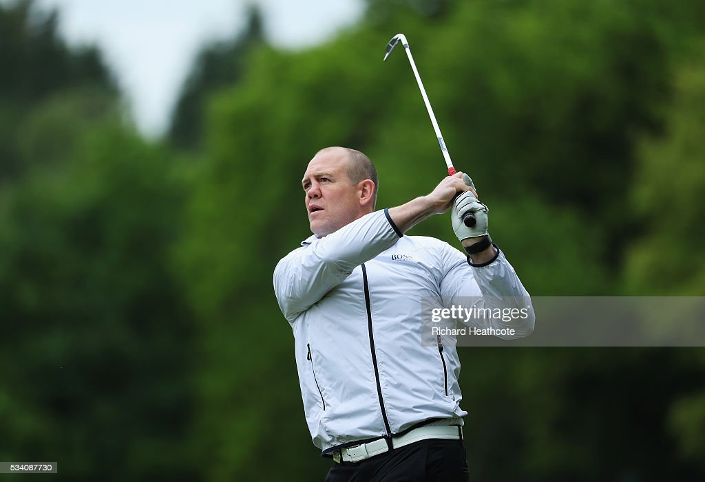 Former Rugby Union player Mike Tindall plays a shot during the Pro-Am prior to the BMW PGA Championship at Wentworth on May 25, 2016 in Virginia Water, England.