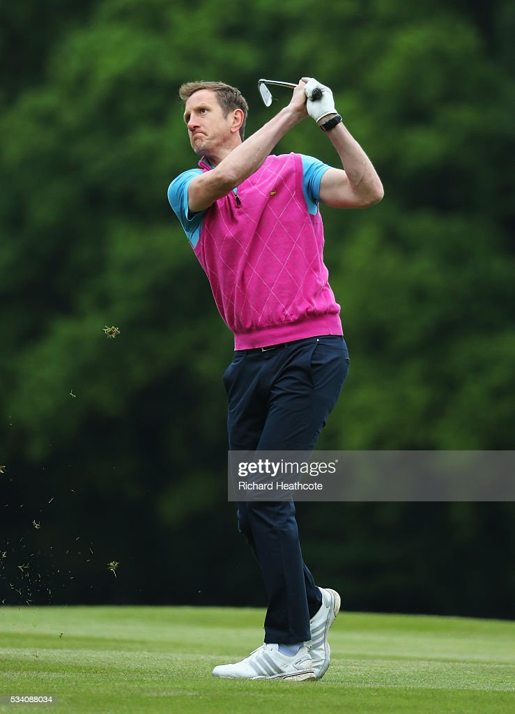 Former Rugby Union player <a gi-track='captionPersonalityLinkClicked' href=/galleries/search?phrase=Will+Greenwood&family=editorial&specificpeople=206169 ng-click='$event.stopPropagation()'>Will Greenwood</a> plays a shot during the Pro-Am prior to the BMW PGA Championship at Wentworth on May 25, 2016 in Virginia Water, England.