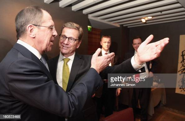 Former Russian minister of foreign affairs Sergey Lavrov and German minister of foreign affairs Guido Westerwelle arrive for a bilateral meeting at...
