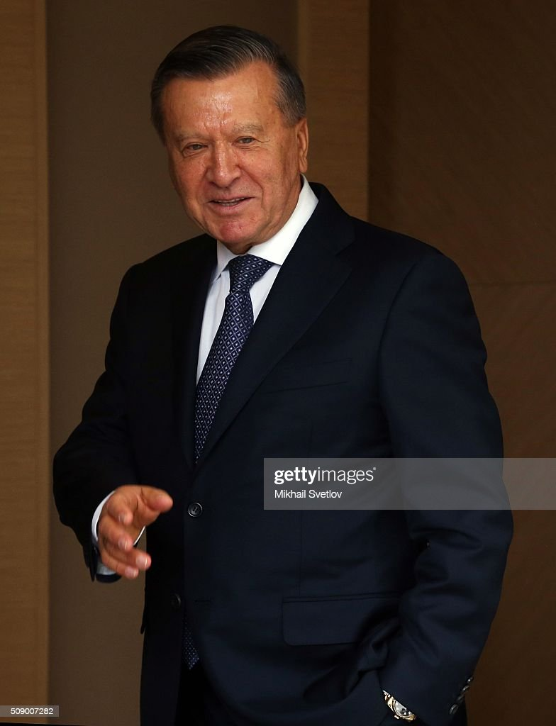 Former Russian Prime Minister Viktor Zubkov attends a meeting in Bicharov Ruchey State Residence in Sochi, Russia, on February, 8, 2016.Bahrain's King is having a one-day visit to Black Sea resort of Sochi.