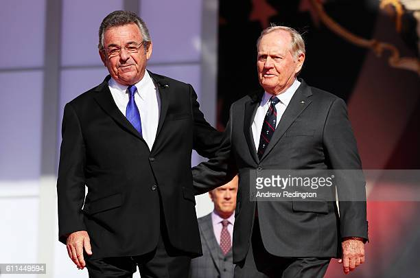 Former Ryder Cup captains Tony Jacklin of Europe and Jack Nicklaus of the United States speak during the 2016 Ryder Cup Opening Ceremony at Hazeltine...
