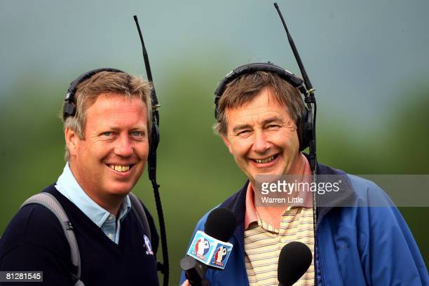 Former Ryder Cup players and TV commentators Howard Clark and Ken Brown pose for a picture during the first round of The Celtic Manor Wales Open on...
