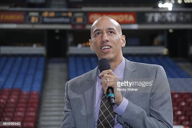 Former Sacramento King Doug Christie address the fans prior to the Sacramento Kings take on the San Antonio Spurs at Sleep Train Arena on February 27...