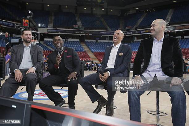 Former Sacramento Kings Brad Miller Bobby Jackson Doug Christie and Scot Pollard before the game between the Sacramento Kings and the Oklahoma City...