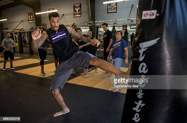 Former Sacramento Kings player Eric Moreland trains at renowned UFC fighter Urijah Faber's gym the Ultimate Fitness Center on on September 18 in...