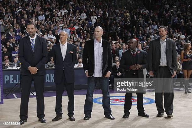 Former Sacramento Kings players Vlade Divac Doug Christie Scot Pollard Bobby Jackson and Brad miller attend the jersey retirement of Peja Stojakovic...