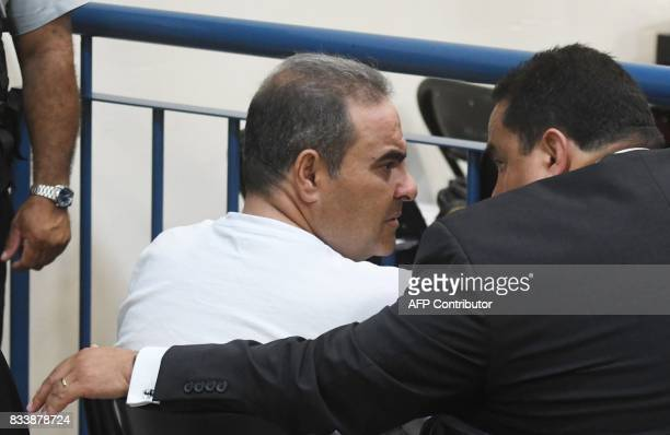 Former Salvadorean president Elias Antonio Saca presently imprisoned for corruption is seen during a hearing at the Isidro Menendez Judicial Centre...