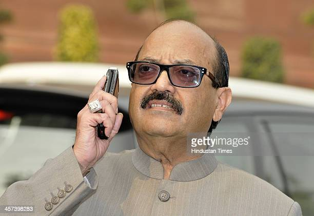 Former Samajwadi Party General Secretary Amar Singh after attending the Rajya Sabha session of the ongoing Parliament Winter Session on December 17...