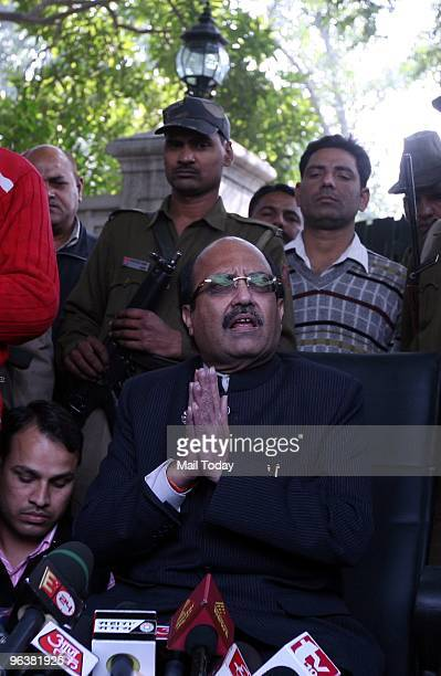 Former Samajwadi Party Leader Amar Singh addressing a Press Conference in New Delhi after his expulsion from the party on Tuesday February 2 2010