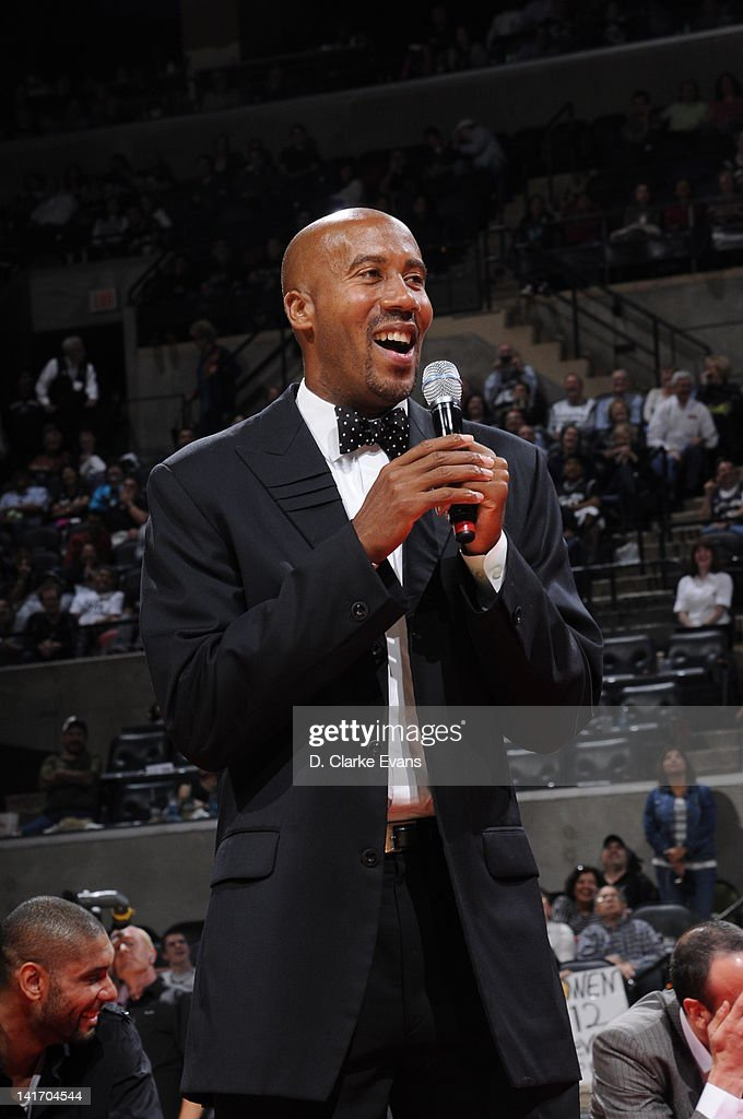 Former San Antonio Spurs player <a gi-track='captionPersonalityLinkClicked' href=/galleries/search?phrase=Bruce+Bowen&family=editorial&specificpeople=201662 ng-click='$event.stopPropagation()'>Bruce Bowen</a> speaks during a ceremony to retire his #12 jersey at halftime of a game between the San Antonio Spurs and Minnesota Timberwolves at the AT&T Center on March 21, 2012 in San Antonio, Texas.