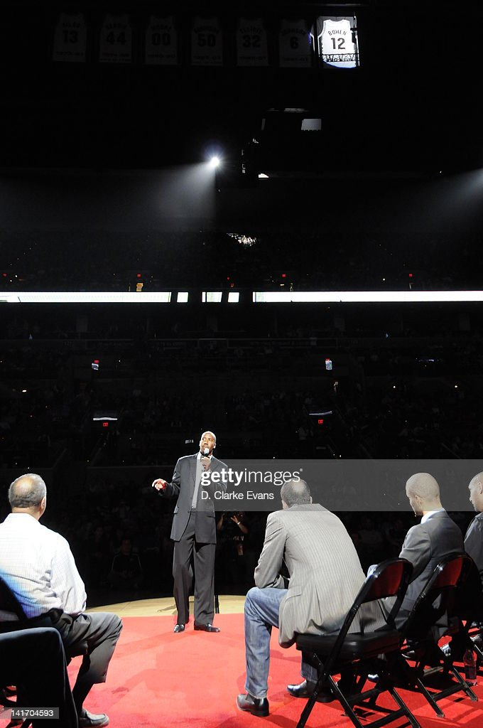 Former San Antonio Spurs player <a gi-track='captionPersonalityLinkClicked' href=/galleries/search?phrase=Bruce+Bowen&family=editorial&specificpeople=201662 ng-click='$event.stopPropagation()'>Bruce Bowen</a> speaks during a ceremony to retire his #12 jersey at halftime of a game between the San Antonio Spurs and Minnesota Timberwolvesat the AT&T Center on March 21, 2012 in San Antonio, Texas.
