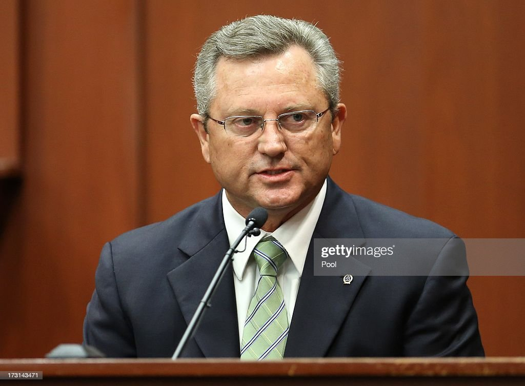 Former Sanford police chief Billy Ray Lee, Jr. testifies in the George Zimmerman trial in Seminole circuit court, July 8, 2013 in Sanford, Florida. Zimmerman has been charged with second-degree murder for the 2012 shooting death of Trayvon Martin.