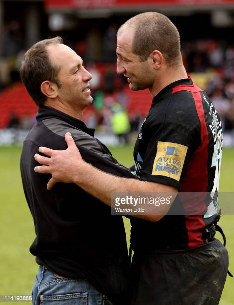 former Saracens dviser Brendan Venter embraces Saracens Captain Steve Borthwick after the Aviva Premiership semi final match between Saracens and...