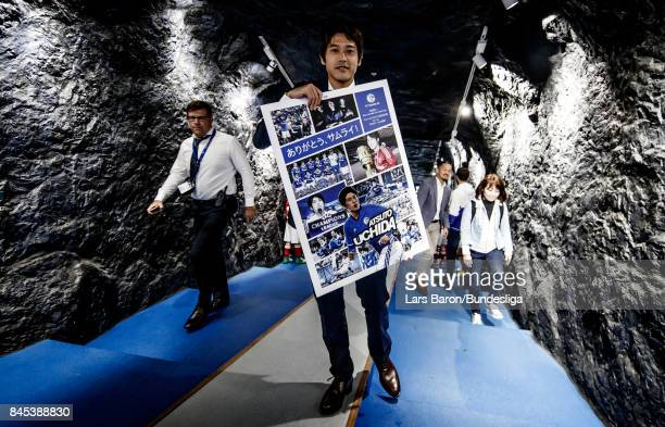Former Schalke player Atsuto Uchida is seen during the Bundesliga match between FC Schalke 04 and VfB Stuttgart at VeltinsArena on September 10 2017...