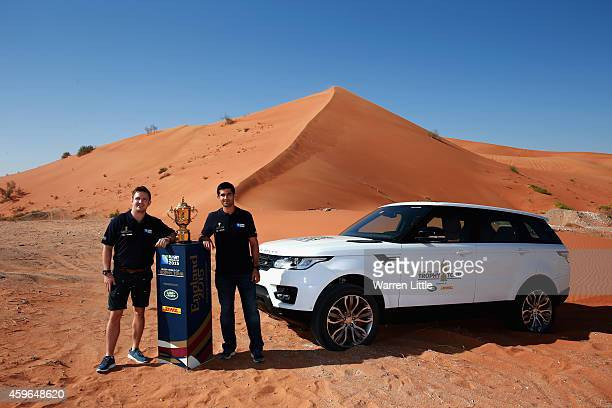 Former Scotland Rugby captain Rory Lawson and UAE Rugby National XVs player Cyrus Homayoun take a drive at the Devils Plunge sand dune with the Webb...