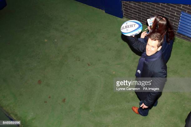 Former Scotland rugby international Chris Paterson with the matchball before the game