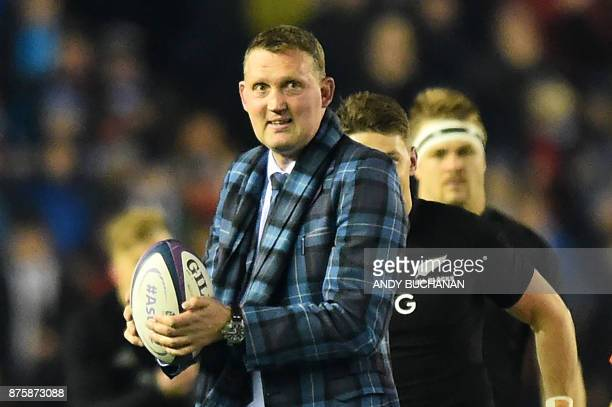former Scotland rugby international Doddie Weir delivers the ball during the international rugby union test match between Scotland and New Zealand at...