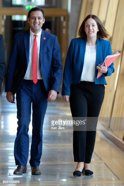 Former Scottish Labour leader Kezia Dugdale and leadership conender Anas Sarwar on the way to First Minister's Questions in the Scottish Parliament...