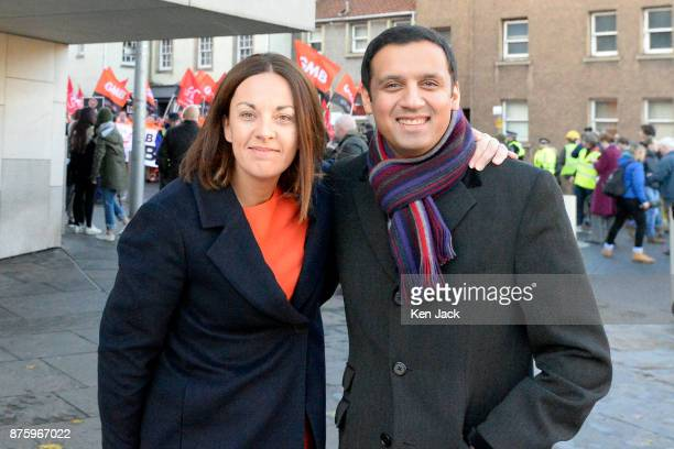 Former Scottish Labour leader Kezia Dugdale and leadership contender Anas Sarwar outside the Scottish Parliament supporting a demonstration by...