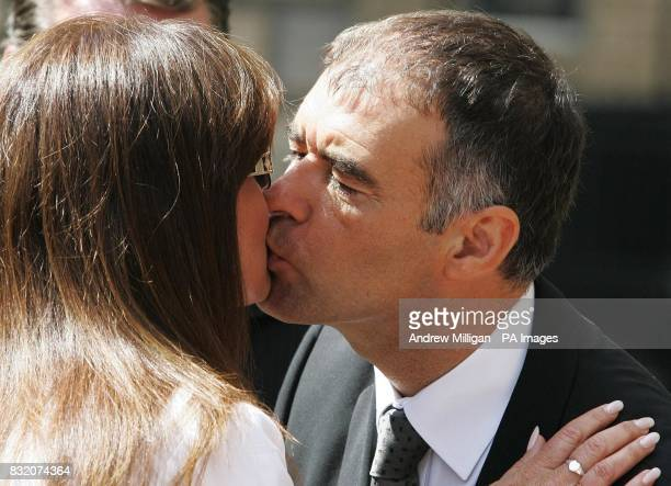 Former Scottish Socialist leader Tommy Sheridan outside the Court of Session in Edinburgh kisses his wife Gail for his ongoing 200000 defamation...