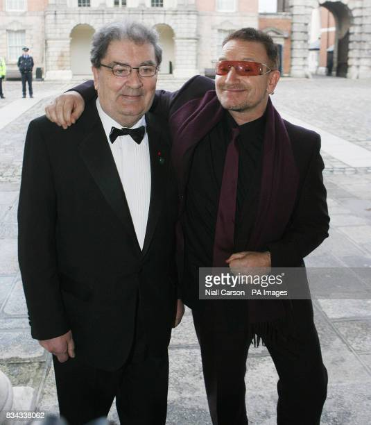 Former SDLP leader John Hume left and rockstar Bono arrive at Dublin Castle for a gala dinner which forms part of a series of events to mark the 10th...