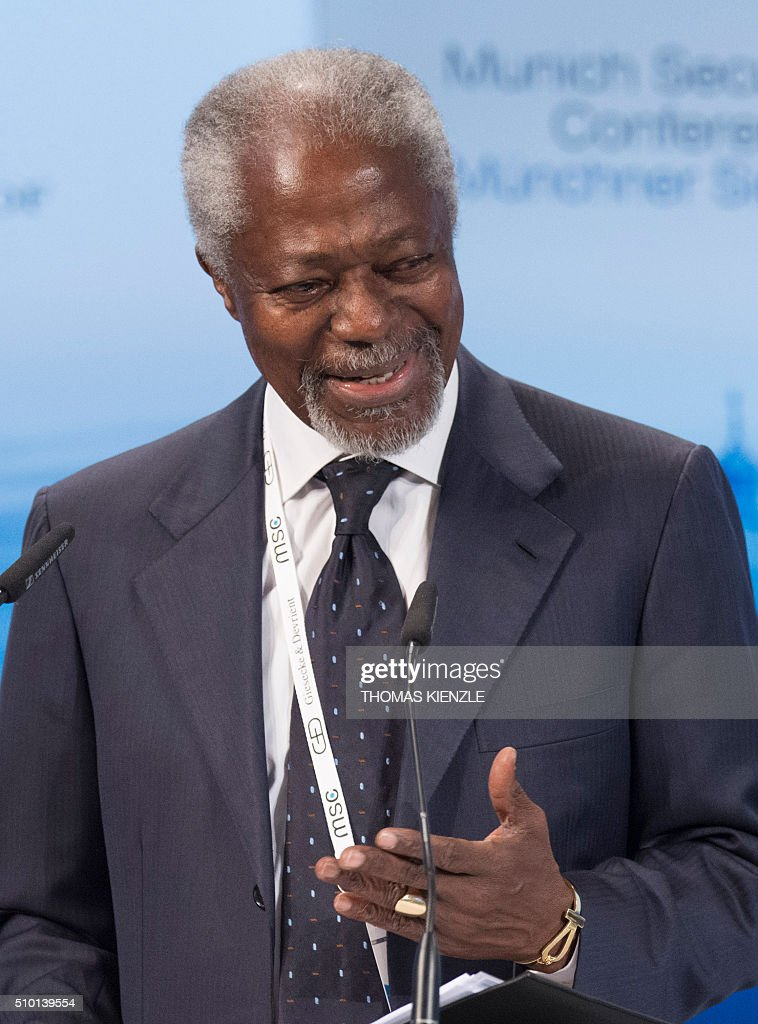 Former Secretary General of the United Nations Kofi Annan speaks at the 52nd Munich Security Conference (MSC) in Munich, southern Germany, on February 14, 2016. / AFP / THOMAS KIENZLE