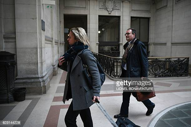 Former secretary manager of the French public media group France Televisions Camille Pascal arrives at the courthouse of Paris on November 14 2016...