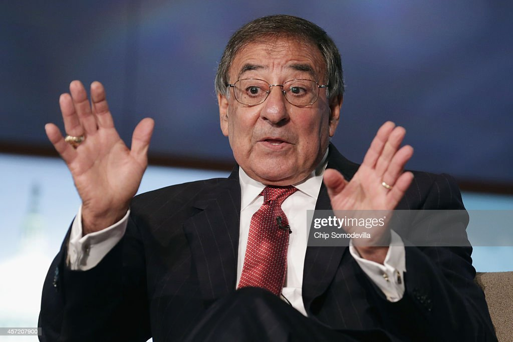 Former Secretary of Defense and director of the Central Intelligence Agency Leon Panetta discuss his new book, 'Worthy Fights,' during an event in the Jack Morton Auditorium at George Washington University October 14, 2014 in Washington, DC. In the book, Panetta writes about his differences with President Barack Obama over military policies in Syria, Iraq and other conflicts.