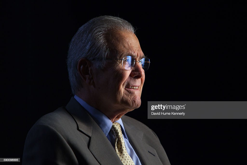 Former Secretary of Defense Donald Rumsfeld being interviewed for Discovery Channel's documentary 'The Presidents' Gatekeepers' about the White House...