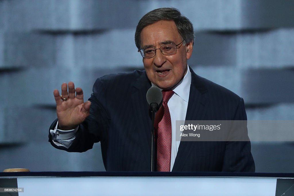 Former Secretary of Defense Leon Panetta attempts to quiet the crowd during his speech on the third day of the Democratic National Convention at the...
