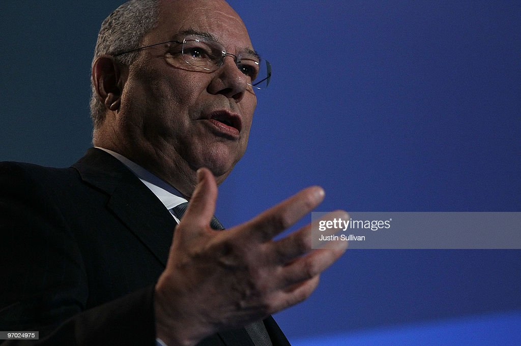Former Secretary of State and Bloom Energy Board member <a gi-track='captionPersonalityLinkClicked' href=/galleries/search?phrase=Colin+Powell&family=editorial&specificpeople=118599 ng-click='$event.stopPropagation()'>Colin Powell</a> speaks during a Bloom Energy product launch on February 24, 2010 at the eBay headquarters in San Jose, California. Bloom Energy, a Silicon Valley start up, introduced the 'Bloom Box', a solid oxide fuel cell device that can generate electricity at a cost of 8 to 10 cents per kilowatt hour using natural gas.