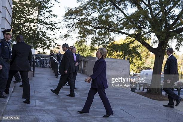 Former Secretary of State and Democratic Presidential Candidate Hillary Clinton arrives at the US Capitol to testify at a Benghazi Committee hearing...