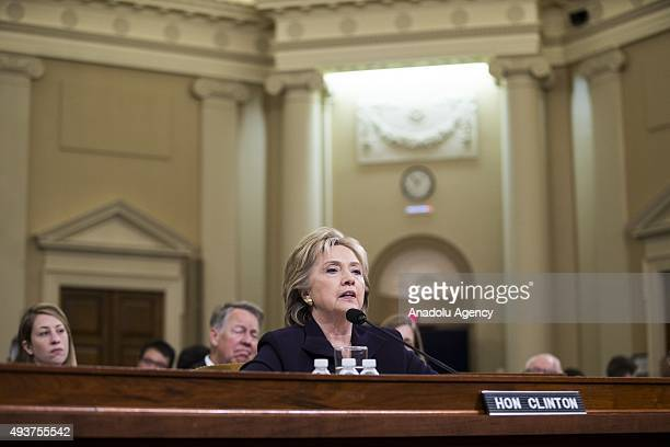 Former Secretary of State and Democratic Presidential Candidate Hillary Clinton testifies in front of the Benghazi Committee during a hearing on the...