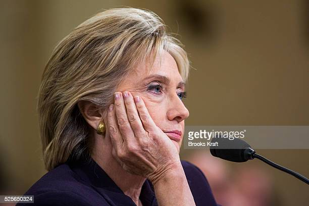 Former Secretary of State and Democratic presidential candidate Hillary Clinton testifies before the House Select Committee on Benghazi on Capitol...