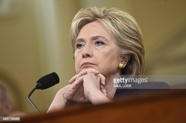 Former Secretary of State and Democratic Presidential hopeful Hillary Clinton testifies before the House Select Committee on Benghazi on Capitol Hill...