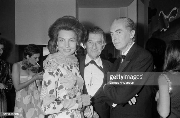 Former Secretary of State Andre Bettencourt and wife Liliane arrive at the Espace Cardin for the Marlene Dietrich's show on June 20 1973 in Paris...