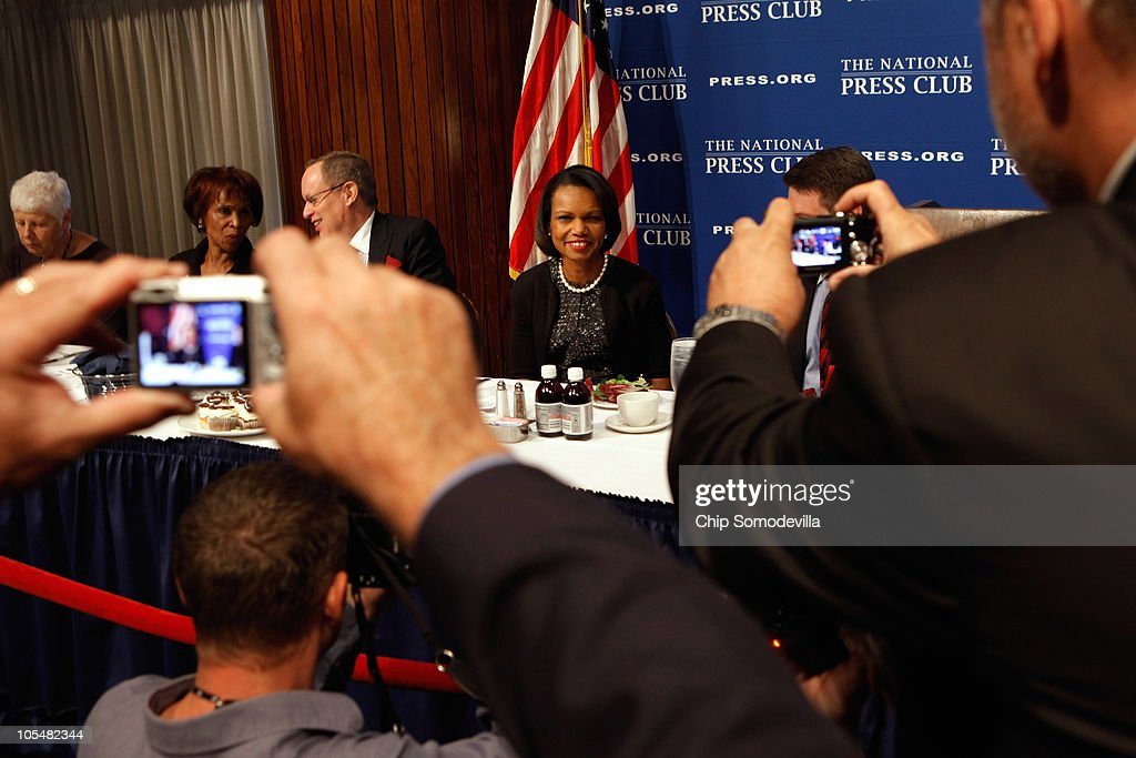 Former Secretary of State <a gi-track='captionPersonalityLinkClicked' href=/galleries/search?phrase=Condoleezza+Rice&family=editorial&specificpeople=157540 ng-click='$event.stopPropagation()'>Condoleezza Rice</a> is photographed before talking about her new book, 'Extraordinary, Ordinary People: A Memoir of Family,' during the Newsmakers luncheon at the National Press Club October 15, 2010 in Washington, DC. The book is about Rice's family and growing up in racially-segregated Birmingham, Alabama, during the 1950s and 60s.