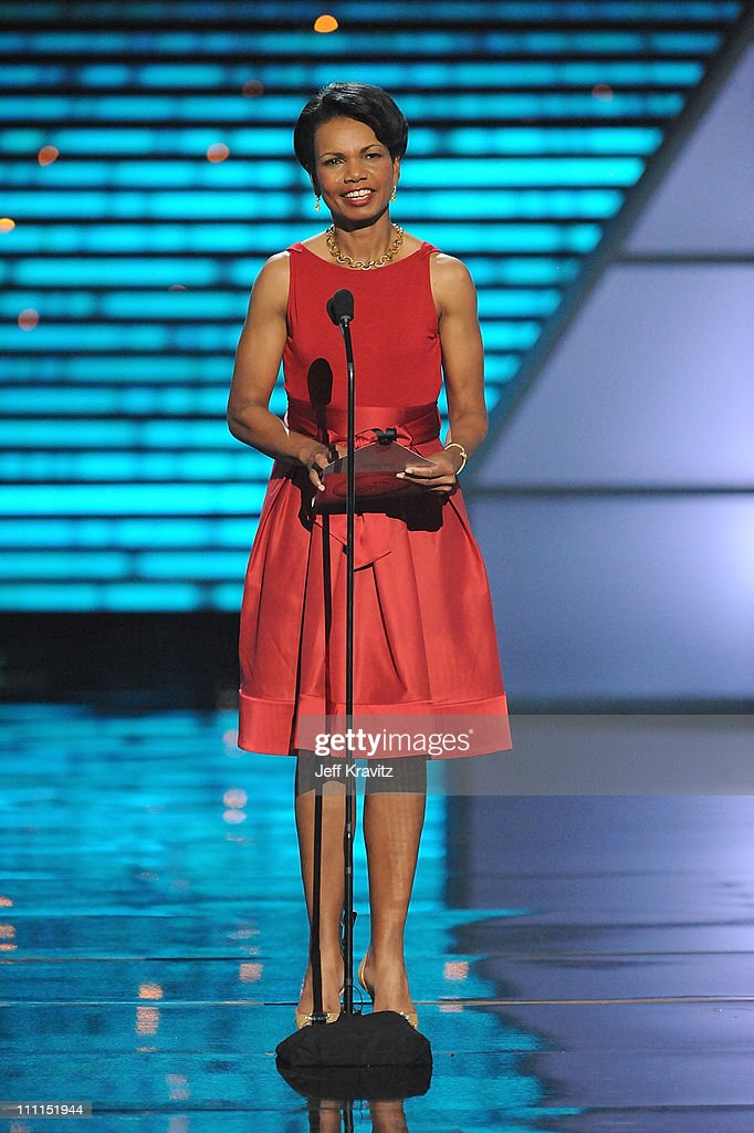 Former Secretary of State <a gi-track='captionPersonalityLinkClicked' href=/galleries/search?phrase=Condoleezza+Rice&family=editorial&specificpeople=157540 ng-click='$event.stopPropagation()'>Condoleezza Rice</a> speaks onstage during the 17th annual ESPY Awards held at Nokia Theatre LA Live on July 15, 2009 in Los Angeles, California. The 17th annual ESPYs will air on Sunday, July 19 at 9PM ET on ESPN.